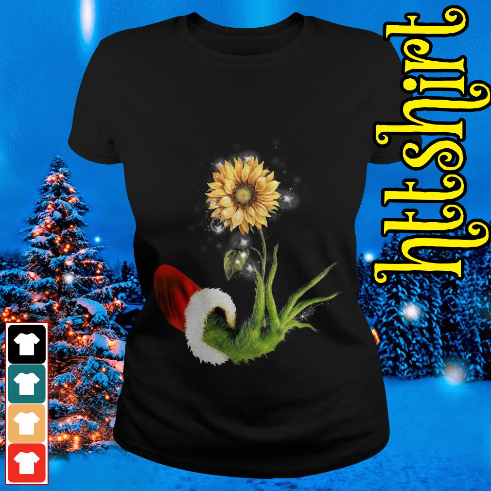 Grinch Santa hand holding sunflower Ladies tee