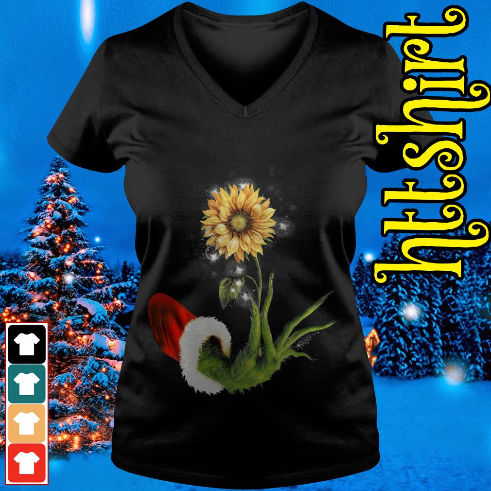Grinch Santa hand holding sunflower V-neck t-shirt