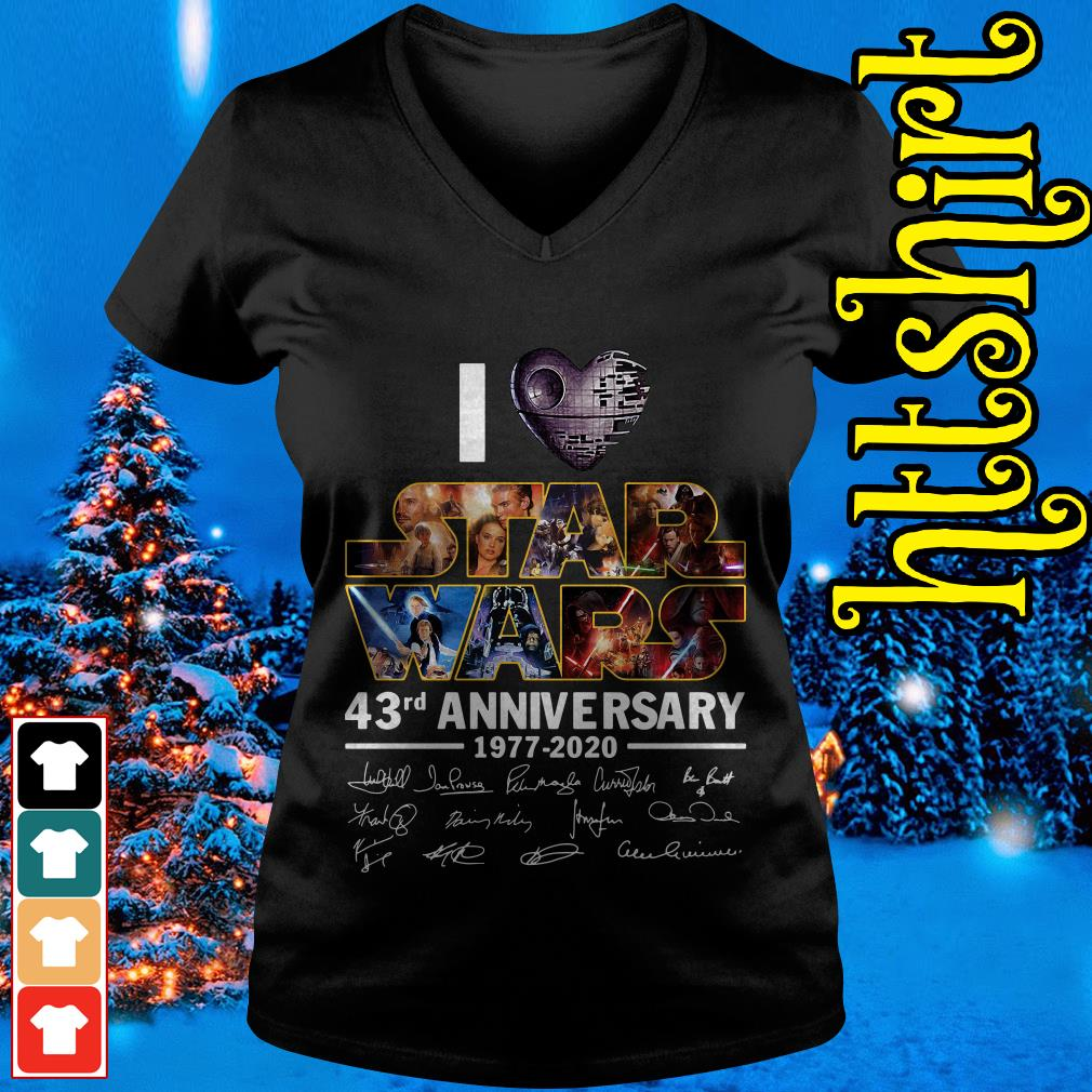 I love Star Wars 43rd anniversary 1977-2020 signatures V-neck t-shirt