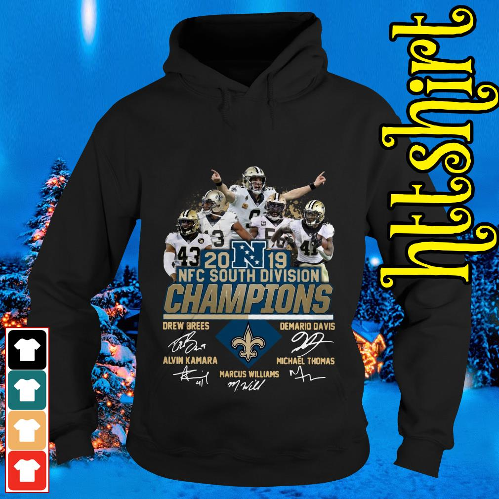 New Orleans Saints 2019 NFC South Division Champions players signature Hoodie