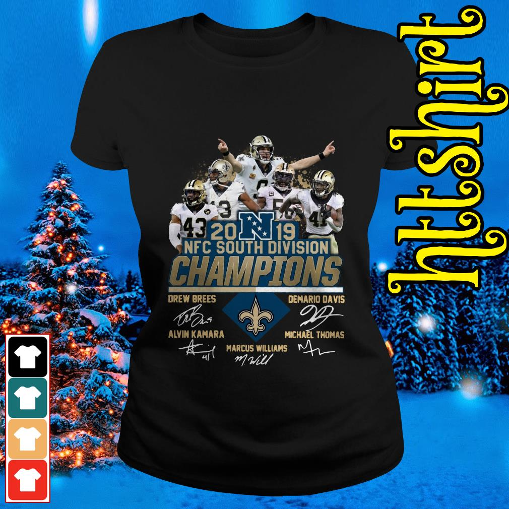New Orleans Saints 2019 NFC South Division Champions players signature Ladies tee