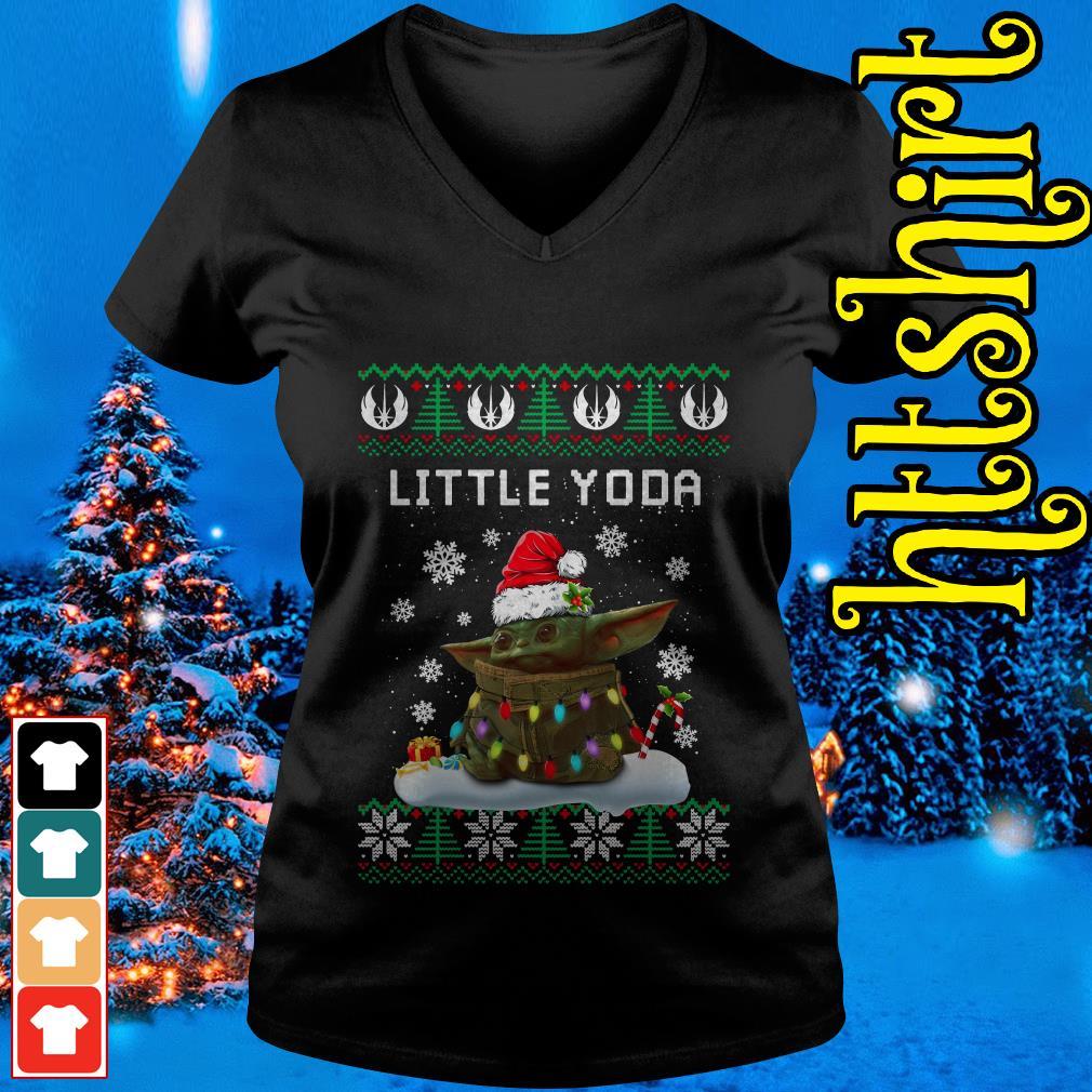 The Mandalorian little Yoda ugly Christmas V-neck t-shirt