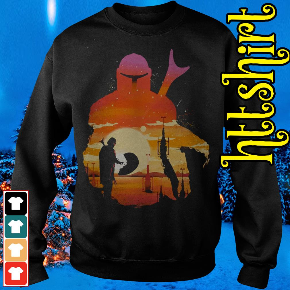 Mando Sunset Mandalorian Yoda Baby Sweater