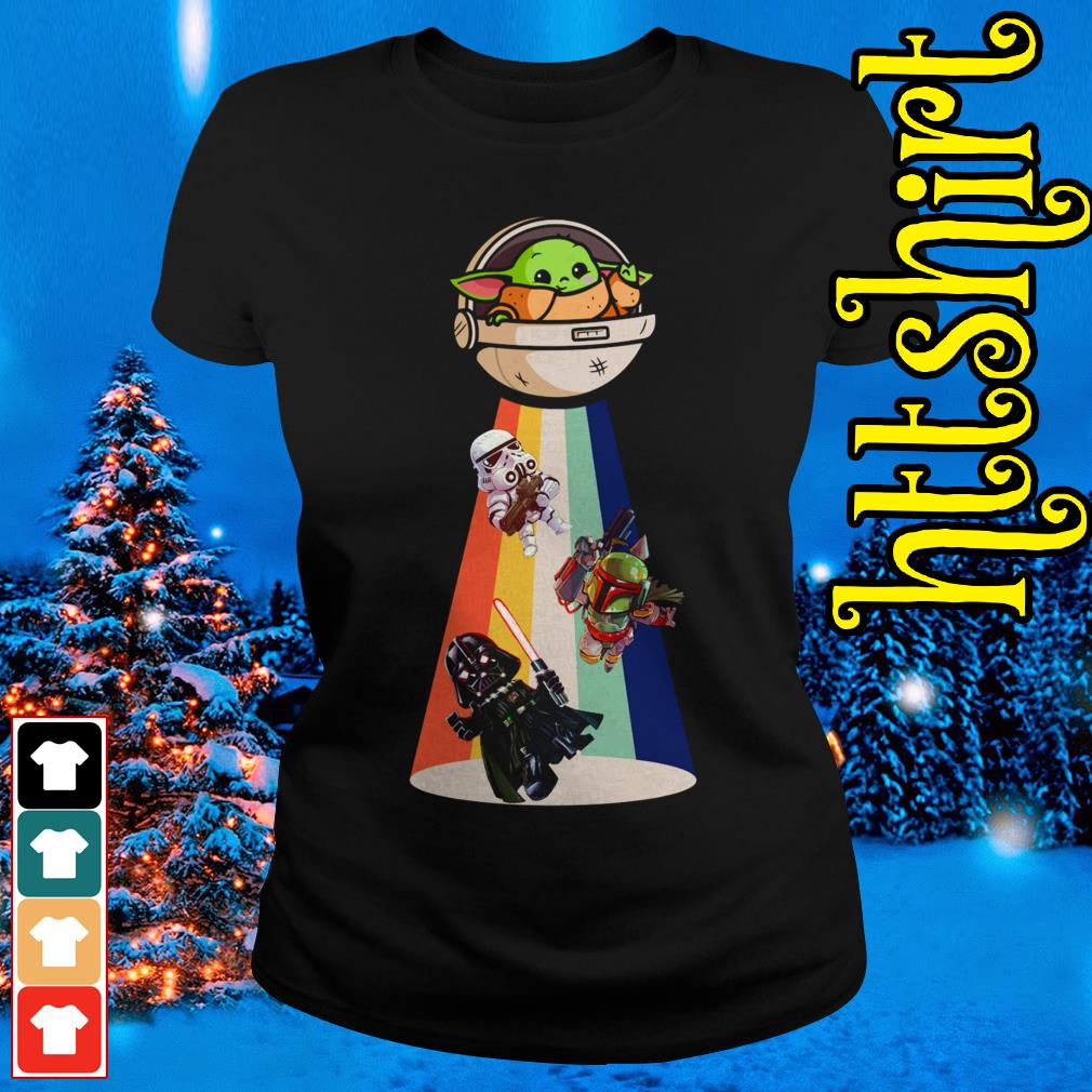 Star Wars Darth Vader Baby Yoda Ufo Ladies tee