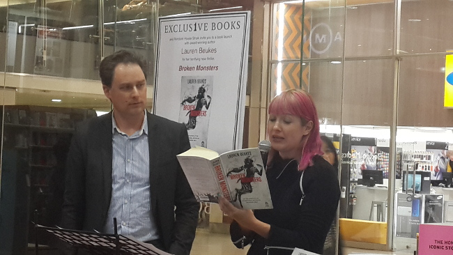 Beukes reading from Broken Monsters at Exclusive Books in Sandton City.