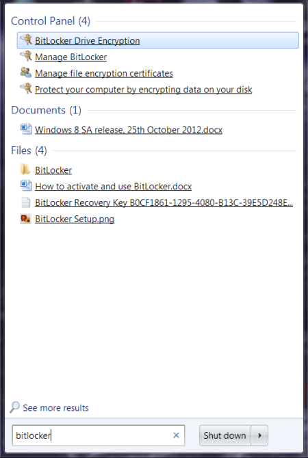 BitLocker How To Step 1