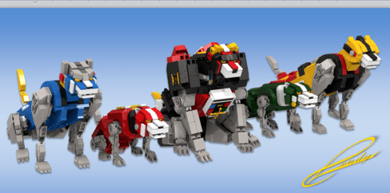 A render of the individual lions.