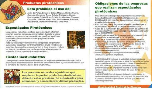 Venta de artefactos pirotecnicos prohibicion en Chancay