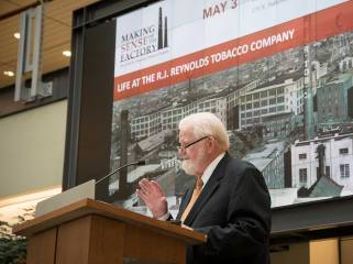 Guest speaker, Howell Smith, PhD, spoke to the history of tobacco and Reynolds in Winston-Salem.