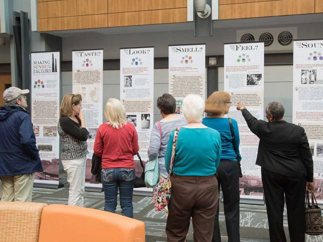 The Making Sense of the Factory exhibit was unveiled on May 3 at Wake Forest Biotech Place.