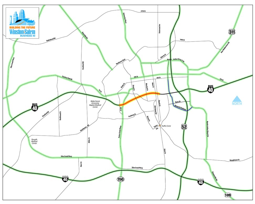 Alternative Routes for Business 40 Closure