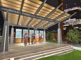 Early rendering of Bailey Park stage