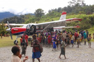 Villagers greet the KODIAK in Pagamba, Papua, Indonesia (2012). Photo by Becky Fagerlie.
