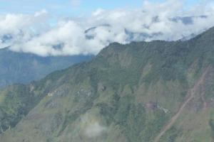 From the air, a view of the rugged terrain surrounding Wamena.