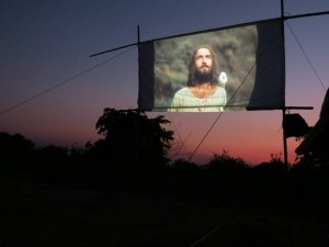 "Showing the ""JESUS"" Film in Namialo, Mozambique. Photo by Jill Holmes."