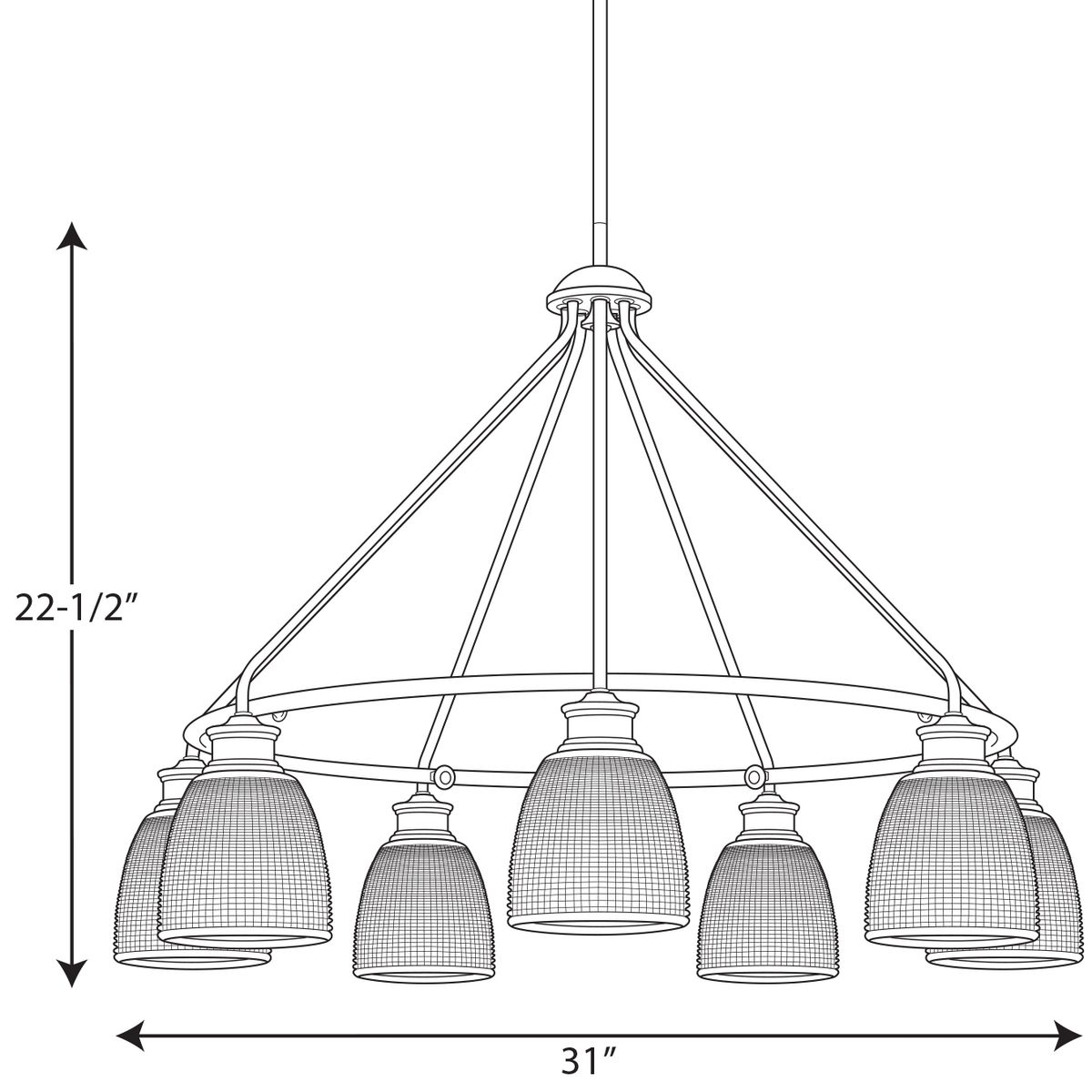 lucky collection seven light chandelier