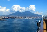 Vesuvius from Naples. Before the fatal eruption, the two sides of the mountain sloped all the way up to a single peak.