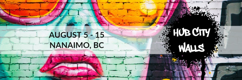 mural of blue woman wearing pink sunglasses, with text that says August 5-15th, Nanaimo, BC.