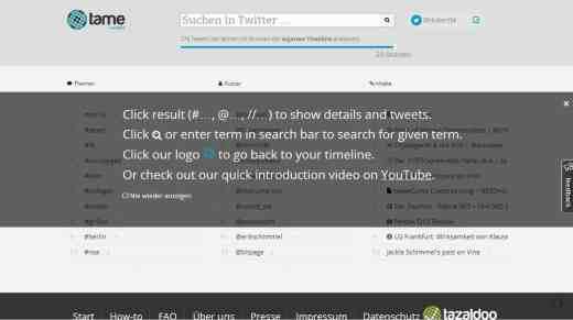 Screenshot unmittelbar nach der Anmeldung bei tame
