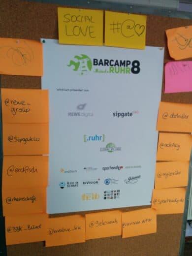 Sponsoren des Barcamp Ruhr 2015 - mit Twitterhandles