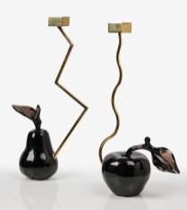 Bougeoirs Pomme et Poire en Obsidienne