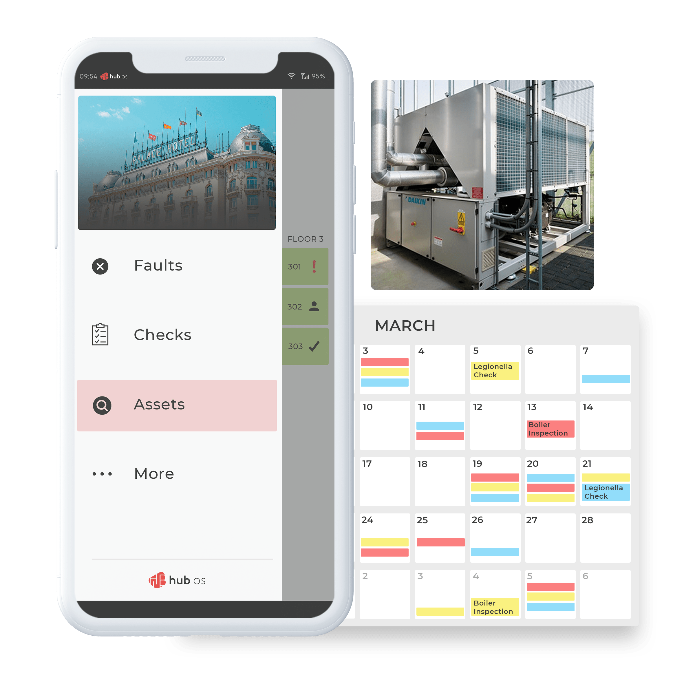 hub OS Maintenance solution calendar and APP