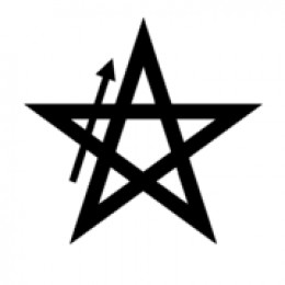 Banishing Earth Pentagram. Start from the bottom left, move up as shown by the arrow, and follow the rest round back to the bottom-left point.