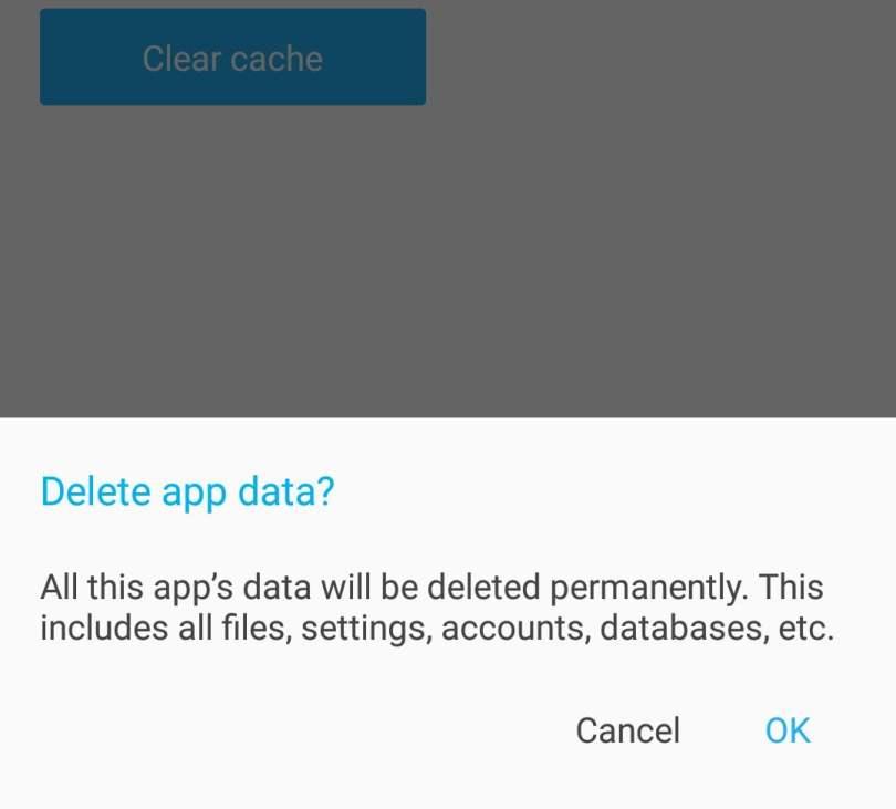 Confirm Facebook Messenger data clear