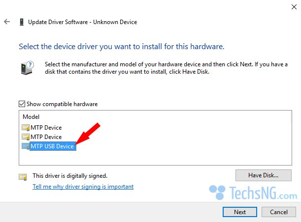 Select MTP USB Device