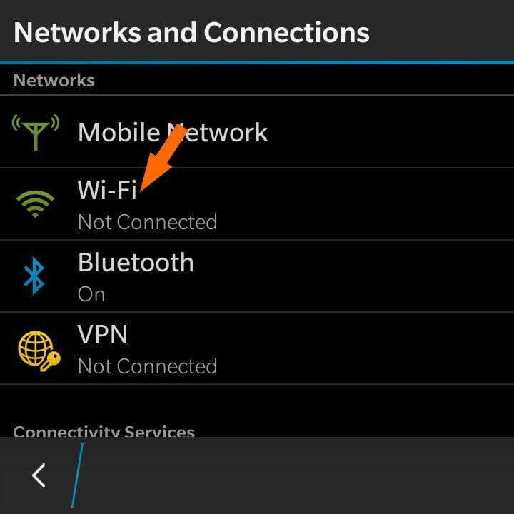 Turn on Wi-Fi on Blackberry 10 phone