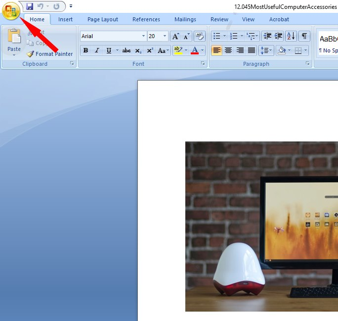 office button on microsoft word