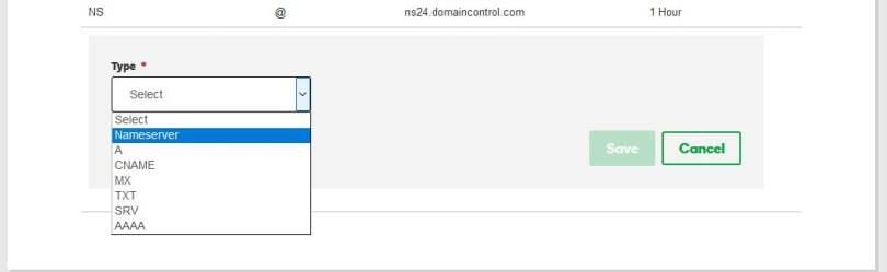 select CNAME in godaddy domain record