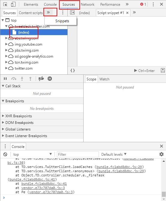snippets code area in google chrome browser