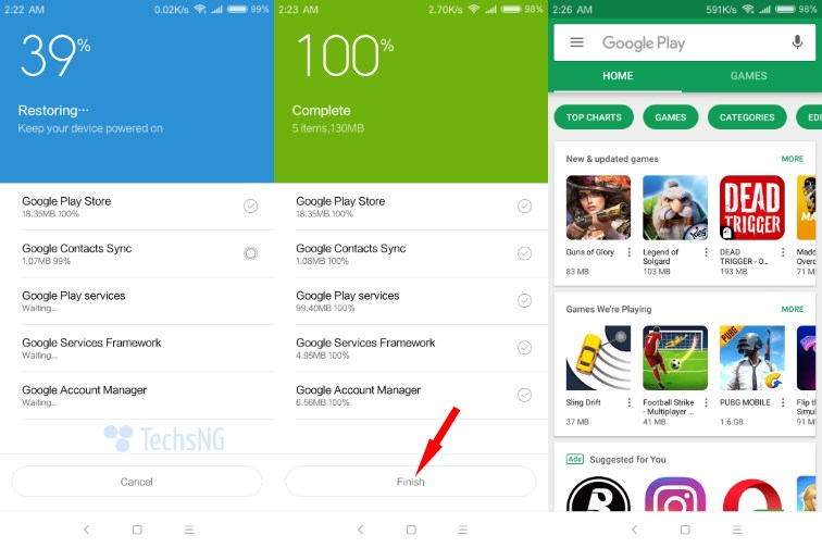 Installation of google play store on Xiaomi phone complete