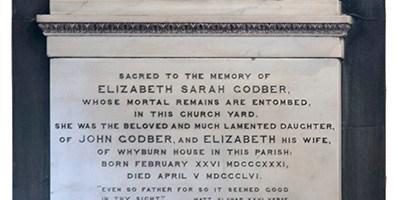 Wall memorial in memory of Elizabeth Sarah Godber, daughter of John Godber