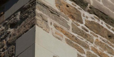 Close up of new stonework to south west corner of tower