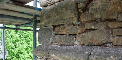 Close up of south west corner of tower before repointing