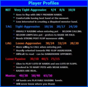 Outline of hand ranges and general playing tactics for the different types of Hold'em player types. i.e. NIT, TAG, LAG, Loose Passive, and MANIAC