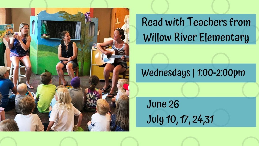 Teachers from Willow River Elementary reading stories to children at the Hudson Public Library during the summer reading program.