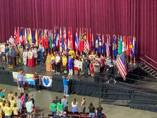 Celebration of flags on the stage.
