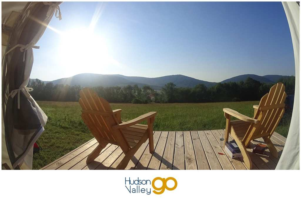 Morning view looking out of the canvas tent at a Tentrr campsite in Upstate New York | Adirondack Chairs