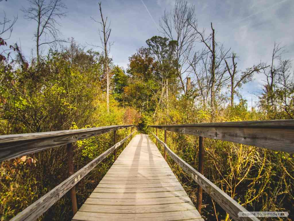 Footbridge at the Ruth Reynolds Glunt Nature Preserve, leading to the Saugerties Lighthouse   Photo by Kristina Quinones aka Aspire to Wander