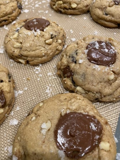 salted chocolate chip cookies with nuts