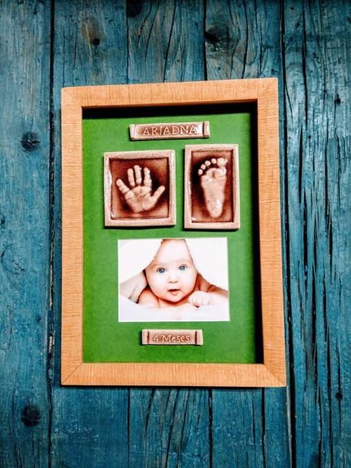 huellas bebé cerámica marco