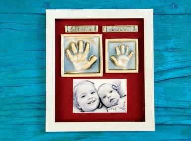 huellas-bebe-hermana-cerámica-marco