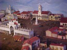 Vista aérea de la Plaza dividida por la Recova (Maqueta)