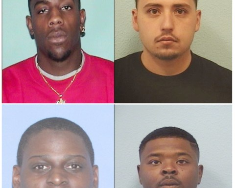 Suspects arrested in conjunction with last Saturday's robbery of the Medicine Shoppe in Raton are: top left, Moses Dickens, top right Christopher Dominguez, bottom left Justin Harris, and bottom right, Antoine Mitchell.  Photo courtesy John D. Garcia, Chief of Police, Raton Police Department.