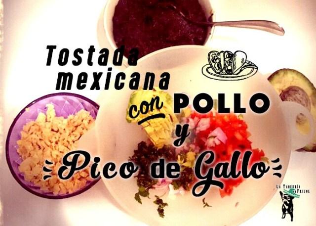 tostada mexicana de frijoles y pico de gallo