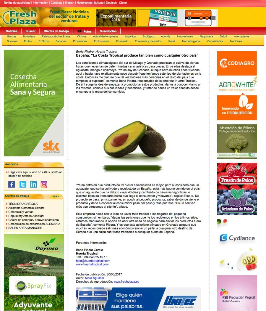 la costa tropical produce aguacate