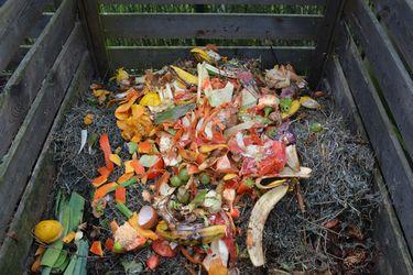 restos de cocina en el cajón de compostaje